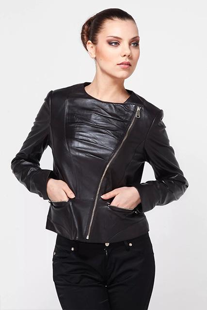 Куртка косуха женская из кожи черная в Курске недорого Дворец кожи и меха Тиффи