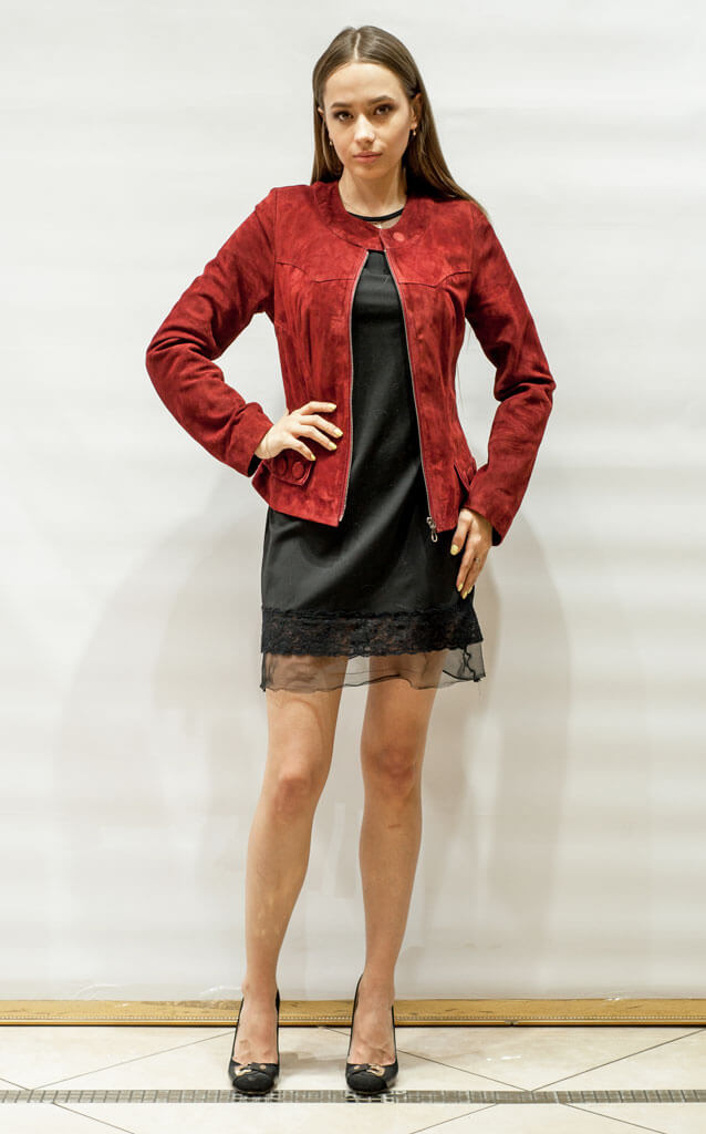 Куртка женская из замши красная в Курске недорого Дворец кожи и меха Тиффи