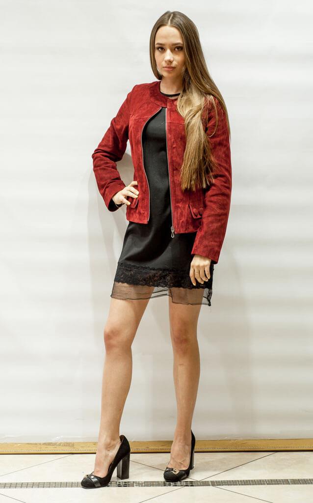 Куртка женская из замши красная в Курске недорого Дворец кожи и меха Тиффи Фото 3