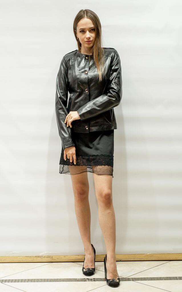 Куртка женская из кожи с воротником Шанель недорого Дворец кожи и меха Тиффи