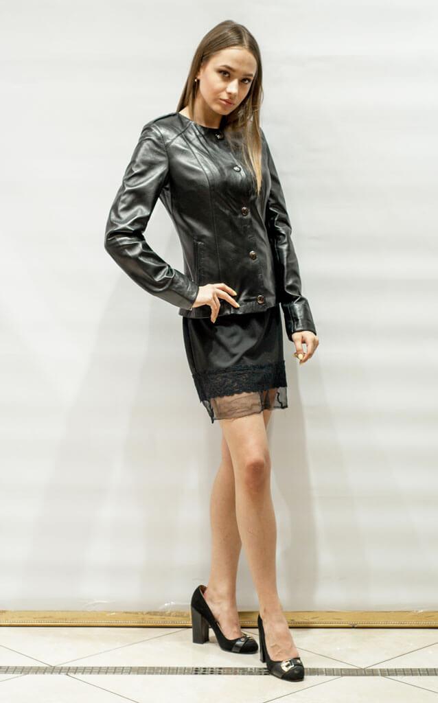 Куртка женская из кожи с воротником Шанель недорого Дворец кожи и меха Тиффи. Фото 3