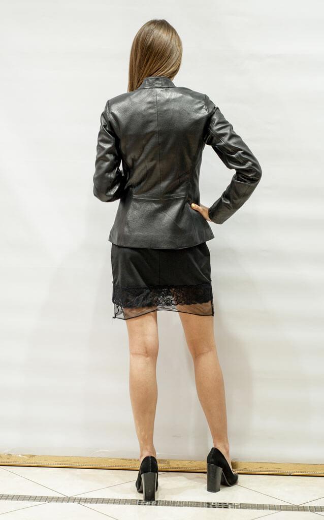Куртка женская с воротником из мягкой кожи черная в Курске недорого Дворец кожи и меха Тиффи. Фото 2