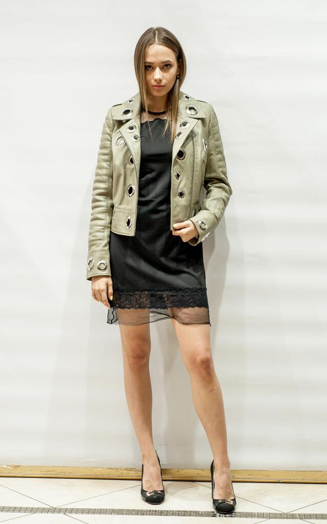 Куртка приталенная женская из кожи фисташкового оттенка в Курске недорого Дворец кожи и меха Тиффи